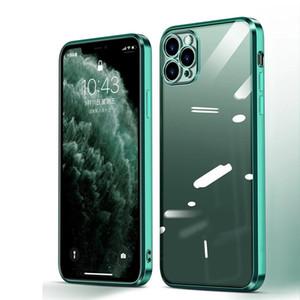 Coque iPhone 12 Pro Max Case Case Luxury Plating Square Frame Прозрачный чехол для крышки iPhone 11 Pro Max X XS XR 7 8 плюс мягкий