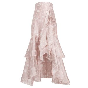 The latest European and American spring and summer pink ruffled irregular high-waist skirt