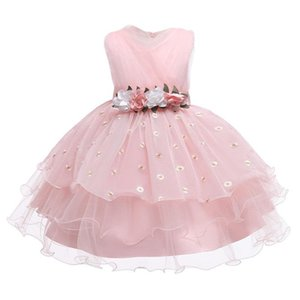 New Kids Tutu Princess pearl Birthday Party Dress for Girls Infant Lace Children Bridesmaid Elegant Dress for Girl baby Girls