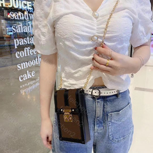 Cadena de impresión clásica caliente bolsos de bolsos bolsas de caja vertical bolsas de un solo hombro Crossbody Bolsas de hombro ajustable Paquete de teléfono móvil