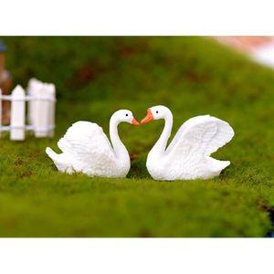 2pcs miniatura lindo Hada del jardín ornamento de DIY regalo Artesanía Animal - White Swan
