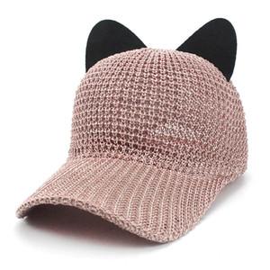 여름 귀여운 고양이 귀 통기성 선 스크린 메쉬 야구 모자는 조절 스냅 백 힙합 뼈 모자를 여자