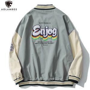 Aolamegs Men's Autumn Jackets Casual Harajuku Outwear College Style Windbreaker High Street Streetwear Printed Baseball Coat Q1110