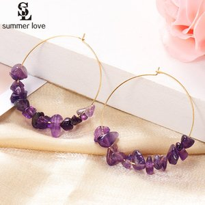 2020 New Colorful Natural Stone Hoop Earrings for Women Bohemian Gold Color Round Circle Creole Earring Handmade Simple Jewelry