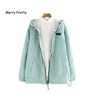 MERRY PRETTY Autumn Women Bomber Basic Jacket Pocket Zipper Hooded Two Side Wear Cartoon Print Outwear Loose Coat 201021