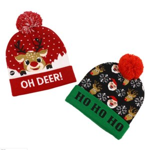 Pom Christmas Hats Knitted Hats With Led Light Xmas Beanies Crochet Winter Hats Deer Elk Gilrs Skull Cap Christmas Home Decoration GWB2424