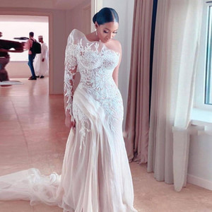 Retrô Lace Um ombro Sereia Vestidos de Noiva Saudi Arábia Ilusão de Manga Longa Tule Varredura de Tule Vestidos Bridal 2021 Primavera