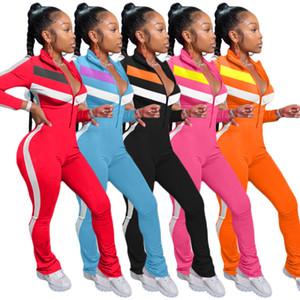 المرأة مثير نيسيس الأزياء خياطة التباين اللون عارضة سترة القفز زيبر كم طويل مايكرو متوهج سليم ملابس السيدات وترفيه السروال القصير