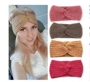 Orelha inverno mais quente Headband Mulheres Moda Elastic malha de lã com alça Envoltório principal hairband meninas elegantes Faixa de Cabelo Acessórios