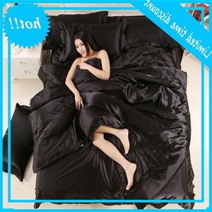 100% Good Quality Satin Silk Bedding Sets Flat Solid Color Queen King 4pcs Duvet Cover+Flat Sheet+Pillowcase Twin Size