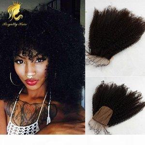 İyi İnsan Saç ucuz İpek Bankası Kapatma İşlenmemiş Brezilyalı Saç 3.5x4 afro sapıkça kıvırcık Closures