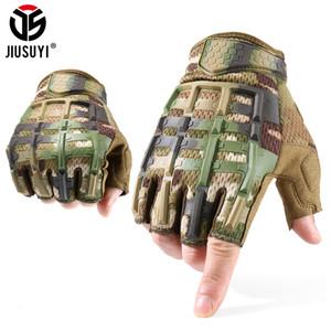 JIUSUYI táctico Guantes sin dedos medio dedo guantes mitones SWAT Camo Ciclismo Paintball Shooting conducción Hombres New