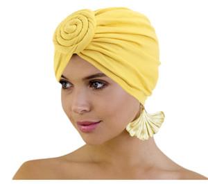 Pérdida de algodón de las mujeres del patrón del turbante africano nudo atado Turbante Beanie Pre-sombrero del capo Chemo del casquillo del pelo