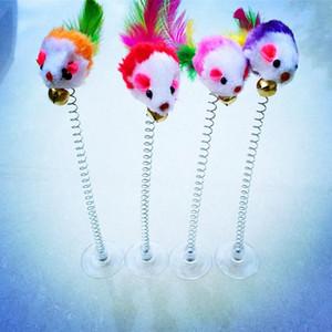همية 3PCS جديد الجرذ المصاص الربيع الفأر مع الريشة الشكل القطط اللعب مضحك القط عصا القط التفاعلية مطاطا الريشة ألعاب