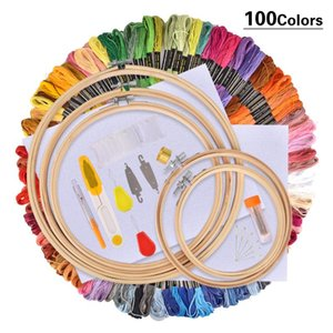 50 100 Colors Thread Embroidery Needle Set Punch Cross Stitching Knitting Kit With Tweezer Women Mom Gift DIY Sewing Accessories