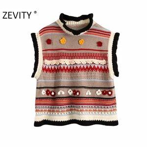 Zevity New Women Fashion Color Matching Floral Appliques Punto Suéter Ladies Sin mangas Casual Chalecas Suéteres Chic Tops S408