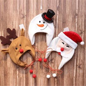 BAMBINI Natale Natale cappello per bambini inverno in pile beanie corda lunga cartone animato cartoon santa claus pupazzo di neve costume alci cappelli cartoon cappelli da sci e101401