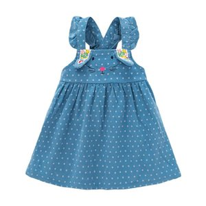 Little maven kids girls fashion  autumn children's dress baby girls clothes cat dot toddler girl corduroy sundress S0841
