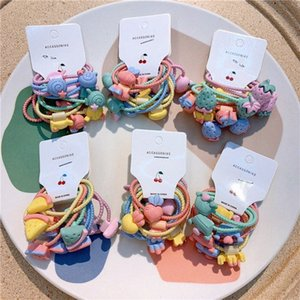 5 пара Новая Корея Дети Простые Симпатичные Rope мультфильм фрукты Lollipop Резинка для волос Sweet Girl Детские хвостик Аксессуары для волос Набор CXFS #