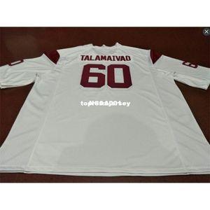 Pas cher Hommes # 60 Top de haute qualité Viane Talamaivao USC Trojans anciens College Jersey XS-6XL ou sur mesure tout maillot de nom ou le numéro