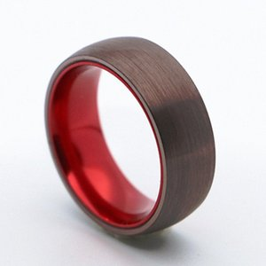 Tungsten Carbide Wedding Band Ring 8mm for Men Women Brown Surface Red Inner Dome Brushed Finished hmZ4#