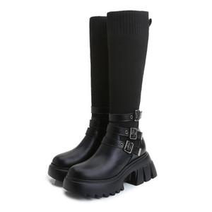 Большой размер женские ботинки 41-43 2020 осенью и зимой новый плюс бархат высокопартный рыцарь эластичный пряжкой мода все-матч