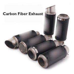 Racing Moto d'échappement Tuyau de tuyau de carbone Tuyau de fibre de carbone 51 / 60.5mm échappement d'échappement Stuffler Suffleur Universal1