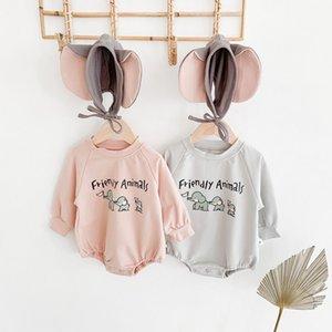 2020 осень Baby Boy девушка мультфильм слон печати Комбинезон с Hat Корейский Уходу Повседневный Одежда Новорожденного Onesie Ромпер Outfit C1021