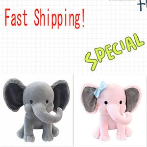 2 colores almohada rellena de dibujos animados Animales suaves muñecas juguetes de los niños dormir amortiguador trasero regalo de los niños cumpleaños de los niños suave del elefante