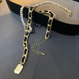 FYUAN Golden Chain Leather Choker Necklaces for Women Long Tassel Rhinestones Necklaces Statement Jewelry