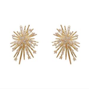 new fashion korean simple style firework shaped earrings crystal diamond luxury design girls gorgeous shining earrings