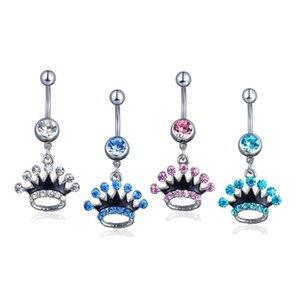 D0149 (3 Renkler) Göbek Halkası Taç Stil Piercing Takı Yüzükler Vücut Piercing Takı Dangle Aksesuarları Moda Charm 10 adet Xurmz