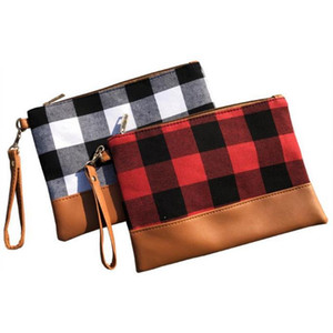 Plaid Clutch Bags Women Cosmetic Bag with Brown Bottom Large Capacity Wristlet Bag Phone Case Coin Purse Travel Tote 2 Designs