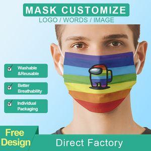 Nuovo Logo personalizzato Maschere Face Masks Fashion Designers Adulti Cycling Outdoor Anti Dust Antivento Antivento Maschera per feste Lavabile Riutilizzabile Comfort Unisex Mask