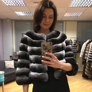 Женский меховой FUX Женская куртка обрезанная шиншилла цветное пальто Последнее дизайн REAL REX EUREWWEAT Высокое качество бесплатная доставка