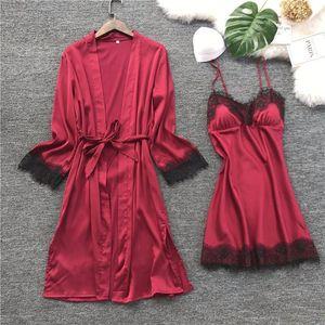 Women Silk Robe Gown Set Summer Sexy Lace Women Sleepwear Dress Elegant Woman Pajamas Casual Bathrobe Sets