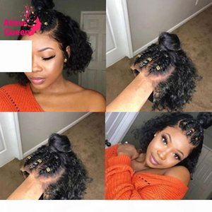 13x6 Bob Pixie Cut Peluca Preplucidada Parte profunda Frente Frente Corto Pelucas para el cabello humano Remy Rizada WIG Belached Nudos para mujeres negras