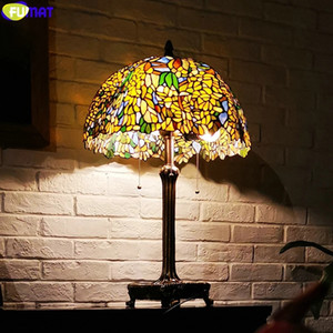 FUMAT Tiffany Style Art Desk Light Yellow Wisteria Vine Stained Glass Decor 18 Inch Shade Table Lamps Copper Tree Frame Colorful