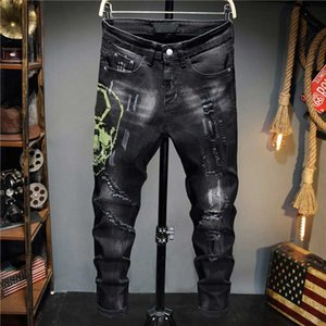Fashion Mens Jeans 2020 Hot Autumn Winter Men Clothing Punk Style Green Hot Drilling Holes Grind White Black Casual Pants Size : 29-38