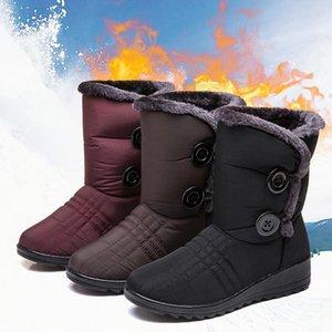 Invierno de las mujeres de arranque de tobillo de la plataforma del botón zapatos botas de nieve caliente impermeable flexible antideslizante botas de mujer de raquetas de nieve