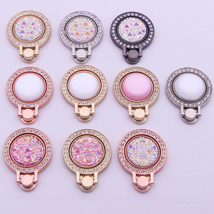 DHL Diamond-studded gem ring holder All metal round rhinestone ring buckle Lazy phone holder drop-proof Universal Holder iPhone Samsung