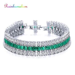 Rainbamabom 925 Solid Sterling Silver Created Moissanite Emerald Gemstone Bangle Charm Diamonds Bracelets Fine Jewelry Wholesale