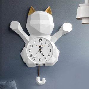 WALL CLOCK MODERN DESIGN FOR LIVING ROOM WATCHES RESIN CAT STATUE SWING CLOCK IN WALL ORNAMENT FASHION CREATIVE HOME DECORATION