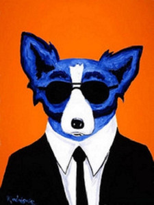 .33 Cool Blue Dog with glasses High Quality Hand Painted  HD Print Wall Decor Art Oil painting on canvas Mulit sizes