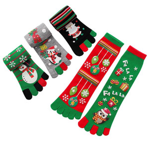 Moda Natale Calze Donna Inverno a cinque dita calzini caldi di Natale Calze Fumetto del pupazzo di neve Babbo Natale Owl Student Split-toe Socks CZ102404