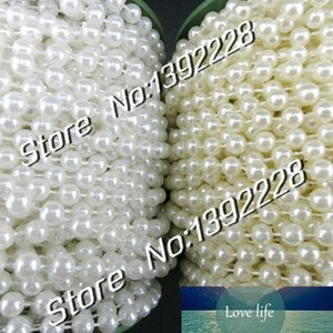 Wholesale-25m roll Pearl Garland 6mm White Beige Beads diy Wedding Flowers Decoration Christmas Festa Event Supplies