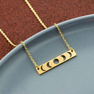 Crescent Moon Bar Necklace Women Gold Silver Color Fashion Jewelry