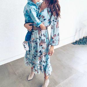NEDEINS Summer Beach Blue Print robe à manches longues femmes Volants Boho Femme Casual Fashion Plus Size Robes 200929