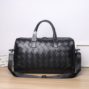 50CM Genuine Leather Travel Duffel Bag Luxury Woven Weekend Overnight Bags Shoulder Bag Large Tote, Black Lhdou