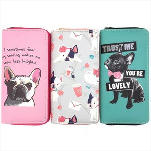 Lovely Bulldog Long Wallets Women Boutique PU Leather Pet Wallets Phone Bag Cards Holder Dropshipping